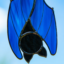 Load image into Gallery viewer, Zoomed stained glass blue sleeping bat