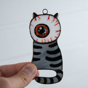 Stained glass Halloween eye-headed cat window hanging