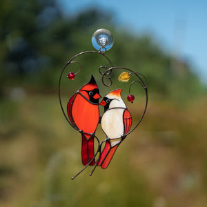 glass cardinals in love on the branch with leaves and berries window hanging