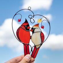 Load image into Gallery viewer, Stained glass cardinals in love sitting on the branch with leaves and berries suncatcher