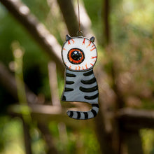 Load image into Gallery viewer, Eye-headed stained glass grey cat suncatcher for Halloween decor
