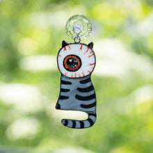Load image into Gallery viewer, Stained glass grey cat with a huge eye instead of head suncatcher for Halloween decor