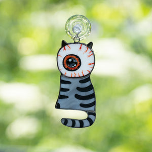 Stained glass grey cat with a huge eye instead of head suncatcher for Halloween decor