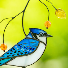 Load image into Gallery viewer, Zoomed stained glass blue jay suncatcher for window