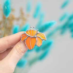 Stained glass orange lily pin