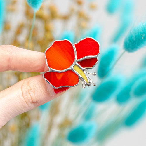 Stained glass red hibiscus flower pin