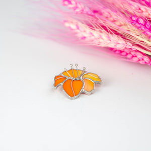 Zoomed stained glass orange lily brooch