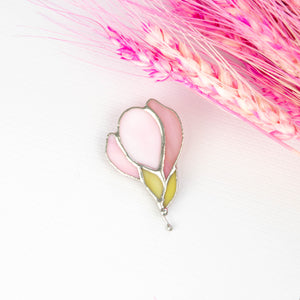 Stained glass magnolia flower pin