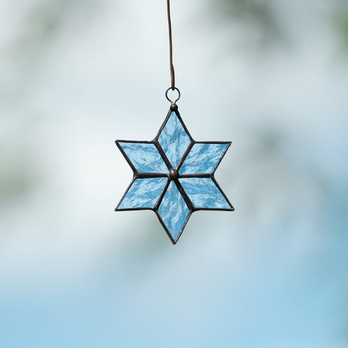 Stained glass snowflake suncatcher for winter holidays decor