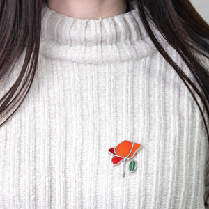 Stained glass poppy with green leaf pin