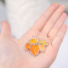 Load image into Gallery viewer, Orange lily pin of stained glass