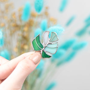 Variegated monstera leaf pin of stained glass
