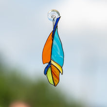 Load image into Gallery viewer, Stained glass feather suncatcher of blue and orange colours