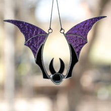 Load image into Gallery viewer, Stained glass purple-winged bat suncatcher