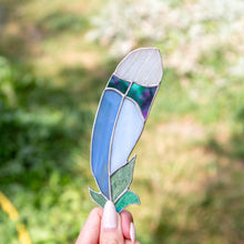 Load image into Gallery viewer, Stained glass bluejay feather suncatcher for window