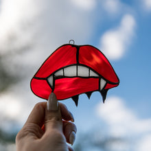 Load image into Gallery viewer, Vampire lips suncatcher of stained glass for Halloween