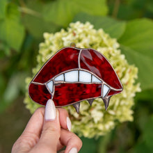 Load image into Gallery viewer, Stained glass vamp lips and teeth window hanging