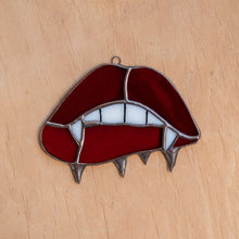 Load image into Gallery viewer, Vamp lips stained glass suncatcher for spooky Halloween decor