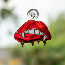 Load image into Gallery viewer, Stained glass vamp lips suncatcher for Halloween decor