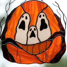 Load image into Gallery viewer, Zoomed stained glass ghost-eyed pumpkin suncatcher