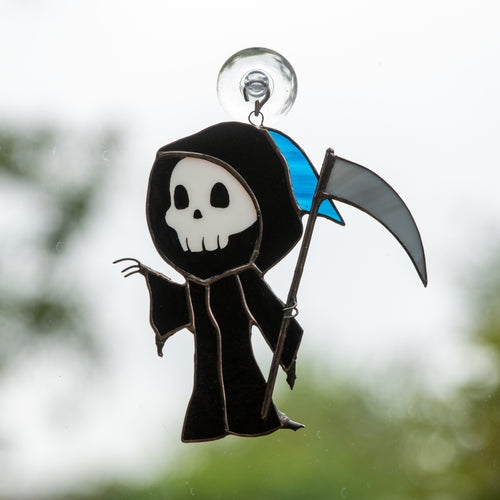 Stained glass Grim Reaper suncatcher for Halloween decor
