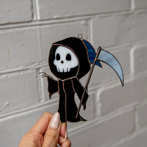 Stained glass Grim Reaper spooky suncatcher for window