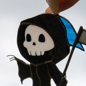 Zoomed stained glass Grim Reaper suncatcher