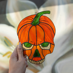 Horror stained glass Halloween pumpkin skull window hanging