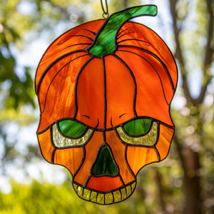 Zoomed stained glass horror pumpkin skull window hanging