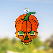 Load image into Gallery viewer, Stained glass pumpkin skull suncatcher for spooky Halloween decor