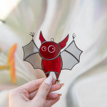 Load image into Gallery viewer, Stained glass Halloween suncatcher of red little bat