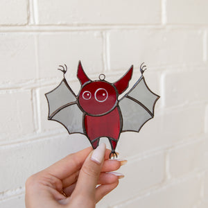 Suncatcher of stained glass Halloween red bat