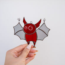 Load image into Gallery viewer, Stained glass Halloween red bat suncatcher