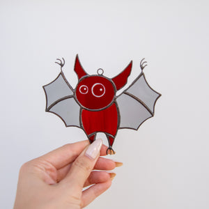Stained glass Halloween red bat suncatcher