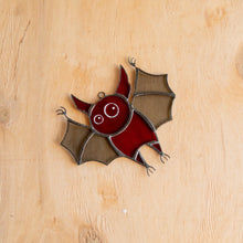 Load image into Gallery viewer, Stained glass red bat suncatcher for Halloween window decor