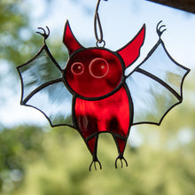 Load image into Gallery viewer, Spooky stained glass red bat suncatcher for Halloween decor