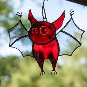 Spooky stained glass red bat suncatcher for Halloween decor