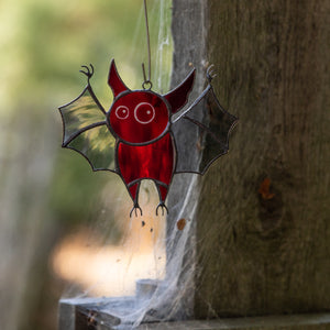 Spooky stained glass red bat for Halloween decor