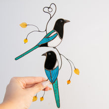 Load image into Gallery viewer, Stained glass two magpies on the branch window hanging