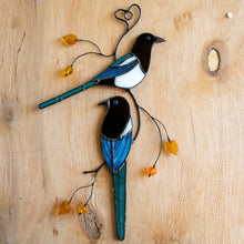 Load image into Gallery viewer, Window hanging of two stained glass magpies on the branch