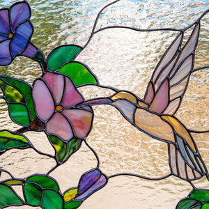 Zoomed stained glass hummingbird panel