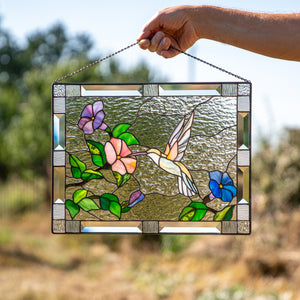 Hummingbird panel of stained glass for home decor