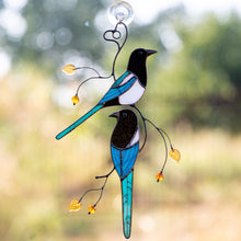 Load image into Gallery viewer, Stained glass magpies suncatcher for window decor