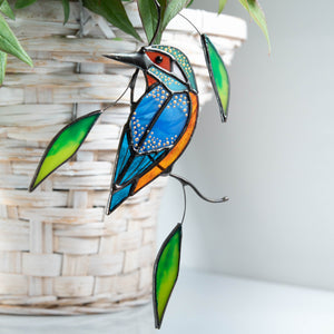 Stained glass kingfisher with leaves window hanging