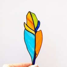 Load image into Gallery viewer, Bright colourful feather suncatcher of stained glass for window