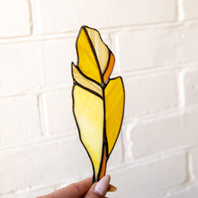 Load image into Gallery viewer, Stained glass feather suncatcher of yellow color with whity and orange parts