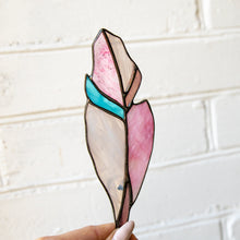 Load image into Gallery viewer, Stained glass pink and its shades feather suncatcher for window