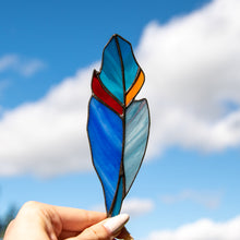 Load image into Gallery viewer, Bright stained glass feather suncatcher of blue colours for window decoration