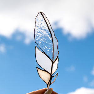 Clear and white stained glass feather suncatcher for window