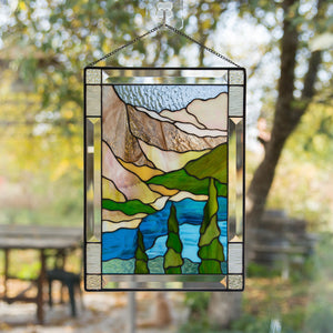 Vertical stained glass panel of Banff national park
